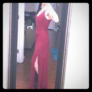 Juniors Long burgundy split front backless dress